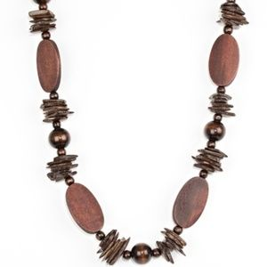 Brown Wooden Beaded Necklace Set